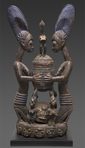 IMPORTANT BOWL WITH FIGURES OLOWE OF ISE, NIGERIA EARLY 20TH CENTURY (BEFORE 1938)
